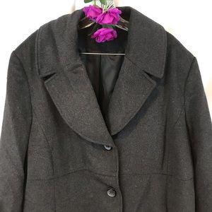 Gray wool blend Jones NY button long coat plus 3X